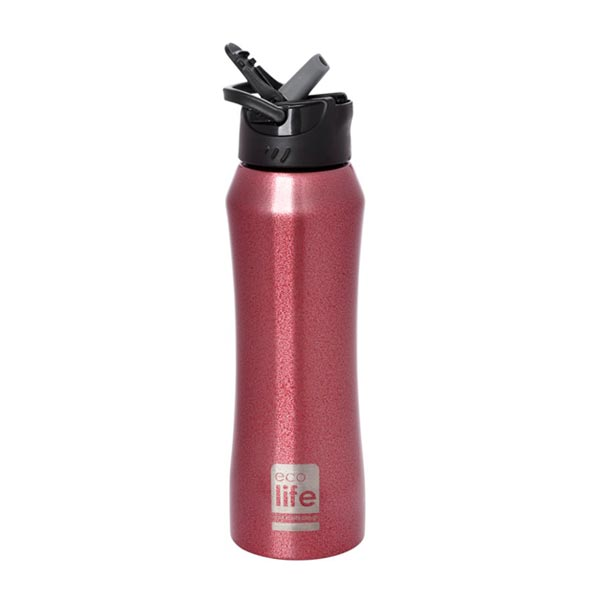 ECOLIFE ΑΝΟΞΕΙΔΩΤΟ THERMOS RED ΜΕ ΚΑΛΑΜΑΚΙ 550ML